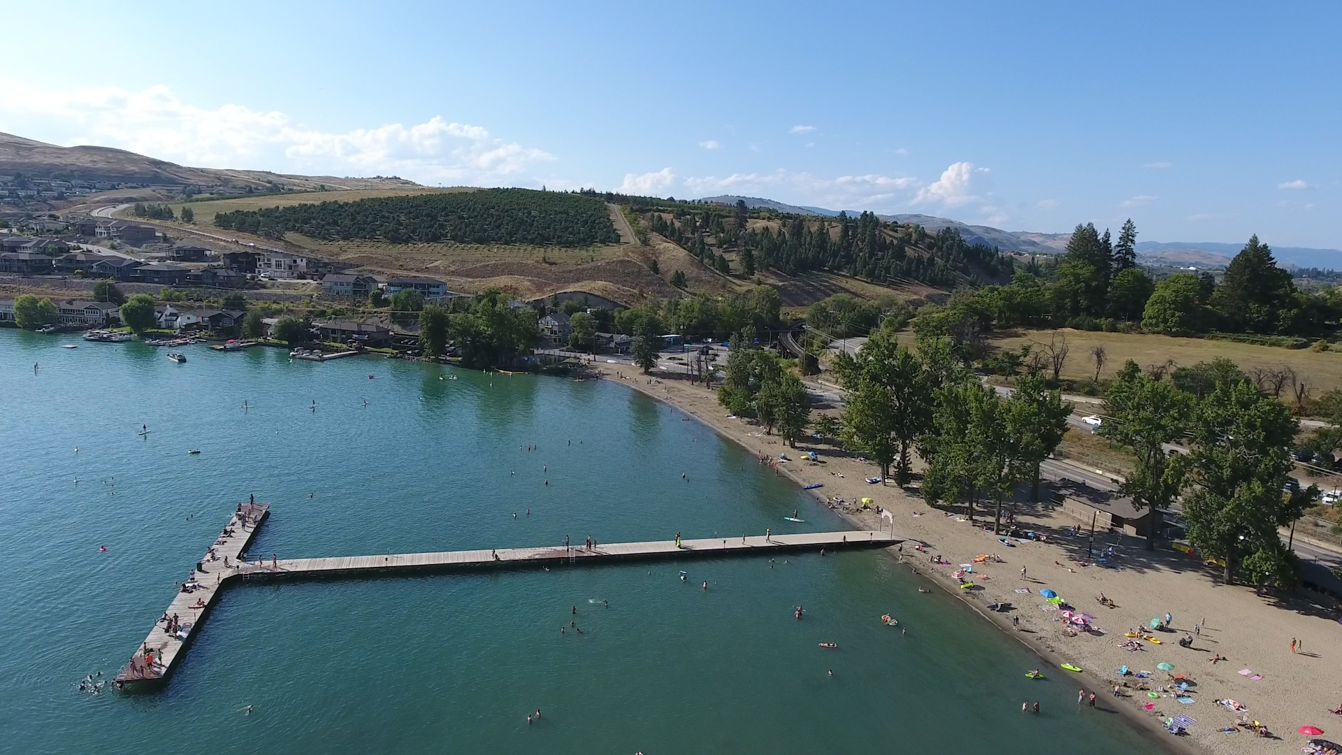 Kal Beach on Kalamalka Lake in Vernon BC - Kal Pier facing west